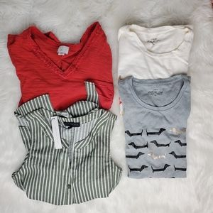Anthropologie and J Crew lot of 4 shirts, XS